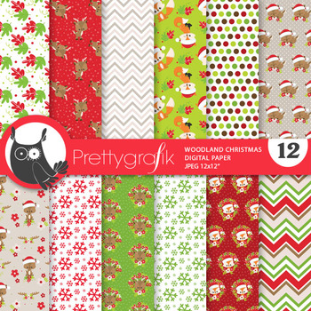 Woodland Christmas papers, commercial use, scrapbook papers, patterns - PS899