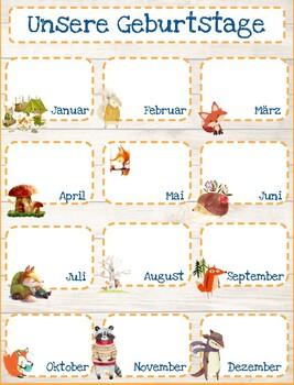 Woodland Classroom Birthday Calendar (German)