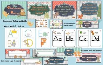 Woodland Classroom Decoration Bundle-Editable!