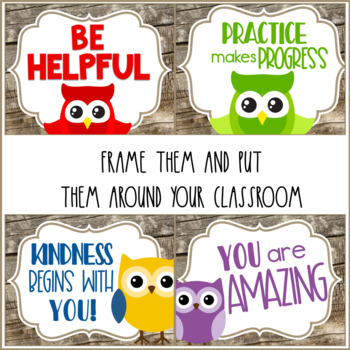 Owl Theme Classroom Kindness Posters with Primary Accents