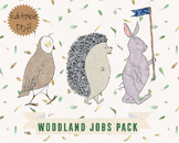 Woodland Animals Classroom Jobs - Clip Art and Editable PDF files included