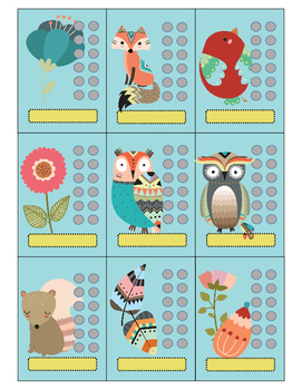 Woodland Creatures Behavior Punch Card