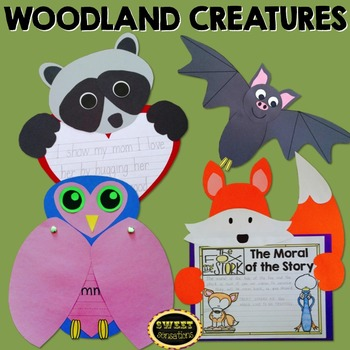 Woodland Creatures Crafts (Owl, Fox, Raccoon, Bat)