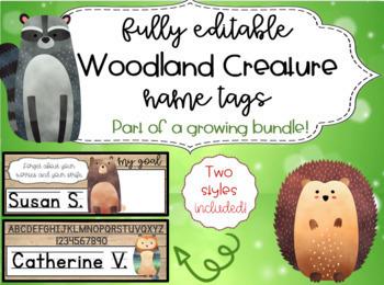 Woodland Creatures Name Tags (editable!!)