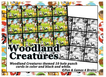 Woodland Creatures Punch Cards --- Behavior punch cards