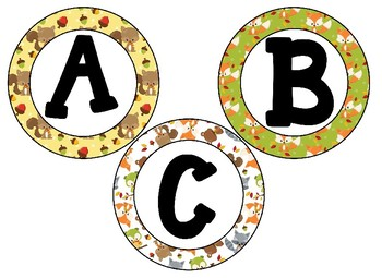 Woodland Creatures Themed 4 inch Circular Bulletin Board Letters
