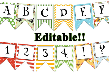 Woodland Creatures themed EDITABLE bulletin board banner