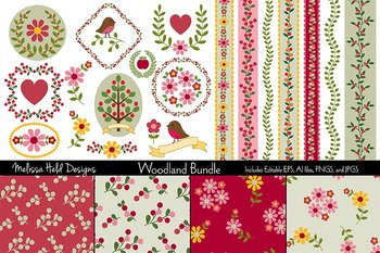 Woodland Crests, Borders, and Background Patterns Bundle