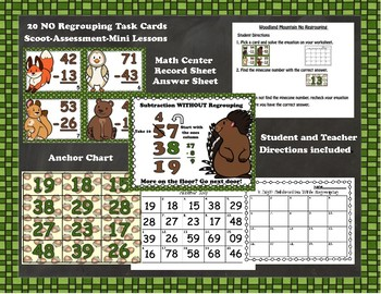 Woodland Critters 2 Digit Subtraction With and Without Regrouping Task Cards