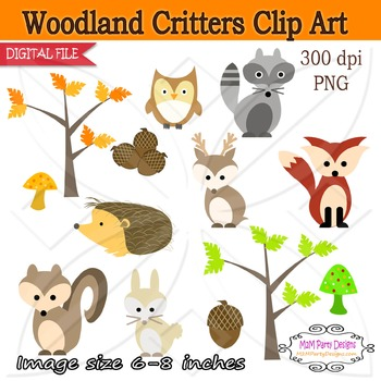 Woodland Critters Clip Art fall clipart, fox instant download PU / CU- SET of 13