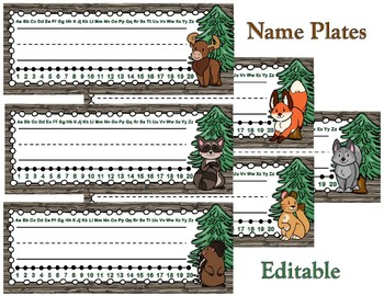 Woodland Critters Editable Name Plate