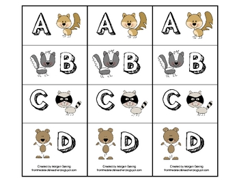 Woodland Critters Multiple Choice Pinch Cards