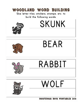 Woodland Critters PreK Printable Learning Pack - Part 1
