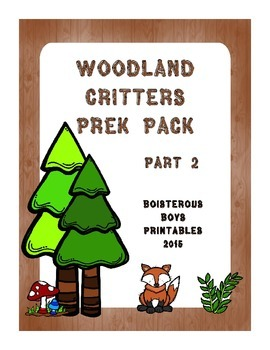 Woodland Critters PreK Printable Learning Pack - Part 2
