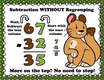 Woodland Critters Subtraction NO Regrouping Task Cards