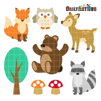 Woodland Cute Animals Clip Art - Great for Art Class Projects!