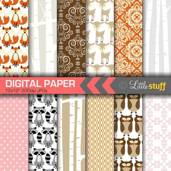 Woodland Digital Paper, Birch Forest Digital Papers, Birch Trees, Deer, Raccoon
