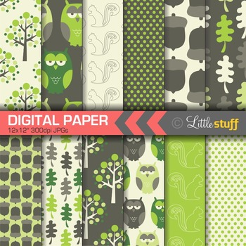 Woodland Digital Paper, Forest Digital Papers, Owls, Forest, Trees, Acorns
