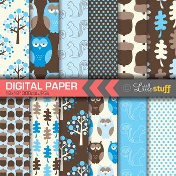 Woodland Digital Paper, Forest Digital Papers, Owls, Forest, Trees, Acorns