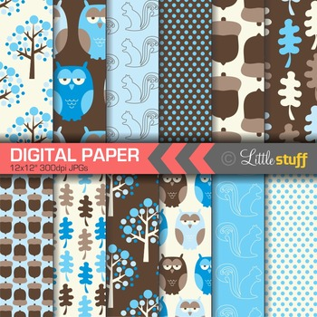 Woodland Digital Paper, Forest Digital Papers, Owls, Fores