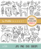 Woodland Doodle Animals Clip Art, Woodland Clip Art, Bear Fox Deer Raccoon