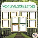 Woodland Editable Exit Slips - Task Cards TheTravelingclassroom