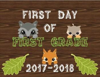 Woodland First Day of School Sign - Grades Preschool - 12th