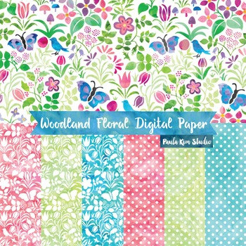 Woodland Floral Watercolor Digital Paper
