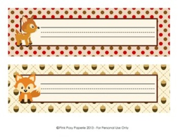 Woodland Forest Animal Classroom Decor Desk Name Plates - Fox included