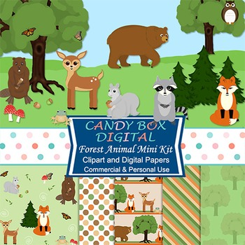 Woodland Forest Animal Mini Kit w/Clip Art and Digital Papers - Commercial OK