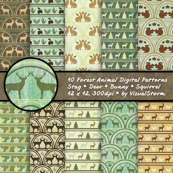 Woodland Forest Animal Patterns - 10 Handmade Rustic Critter Backgrounds