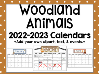 Woodland / Forest Animals 2018-2019 Monthly Calendars