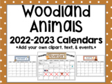 Woodland / Forest Animals 2019-2020 Monthly Calendars