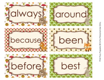 Woodland Forest Animals 2nd Grade Dolch Sight Wall Words