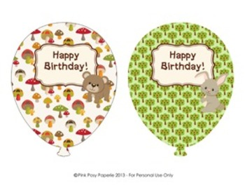 Woodland Forest Animals Birthday Balloons - 4 designs - fox included