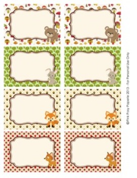 Woodland Forest Animals - Fox included -  Classroom Bin Tag Labels