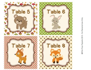 Woodland Forest Animals Classroom Decor Table Numbers