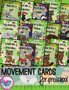Woodland Forest Animals Movement Cards for Preschool