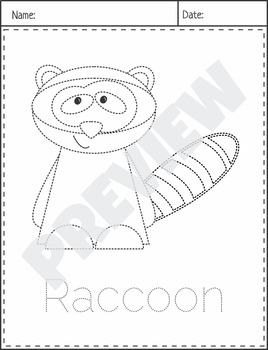 $1 Deal Woodland Forest Animals Picture Tracing Coloring Pages