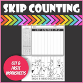 $1 Deal Woodland Forest Animals Skip Counting Cut and Paste Worksheets