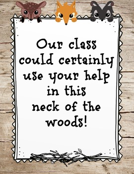Woodland, Forest Classroom Wishlist orientation, open house, teacher night
