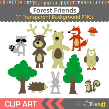 Woodland Forest Clipart, Forest Animal Clip Art, Forest Graphics