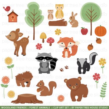 Woodland Forest Friends Clip Art Set and Black Line Illustrations
