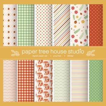 Woodland Forest Friends Digital Paper Set