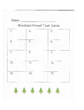 Woodland Forest Task Card and Recording Sheet
