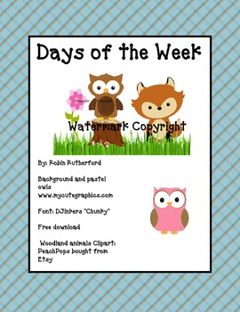 Woodland Forest theme  days of the week- Bonus Owls set as a 2nd choice