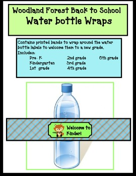 Woodland Forest theme water bottle wraps for back to school