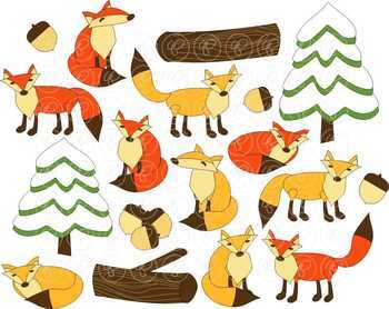 Woodland Foxes Clipart by Poppydreamz