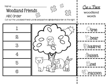 Woodland Friends Words ABC Order