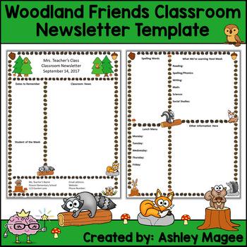 Woodland Friends Editable Classroom Newsletter Template